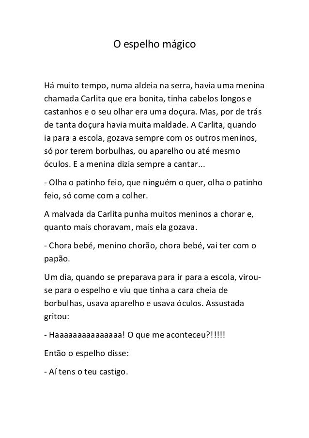 Populares O espelho magico historia infantil VM31