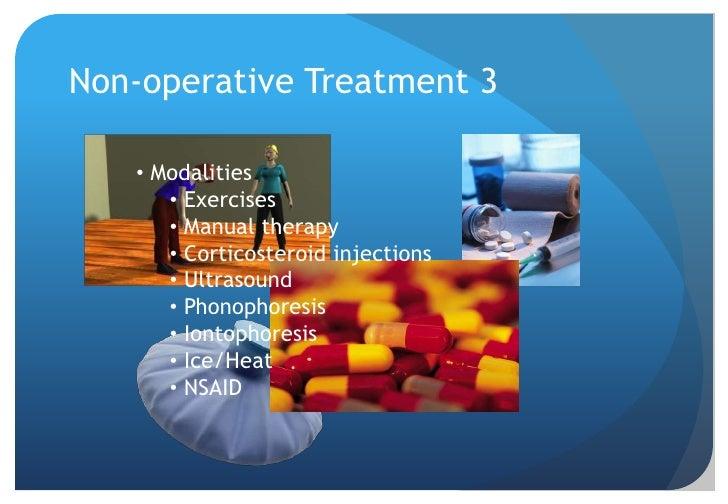 Non-operative Treatment 1<br />Impingement/Tendinitis<br />High success rate approx 70%<br />Retrospective study 616 patie...