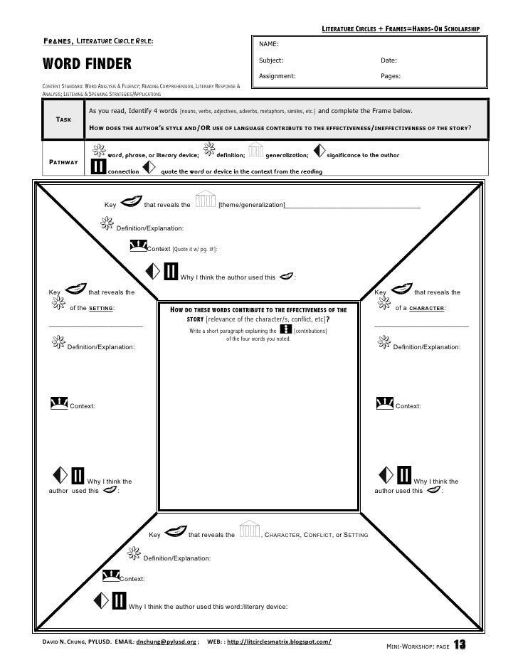 High School Literature Worksheets : Literature circle worksheets high school best