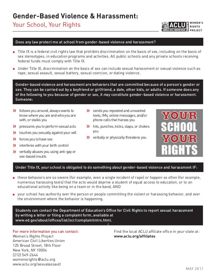 Gender-Based Violence & Harassment:Your School, Your Rights Does any law protect me at school from gender-based violence a...