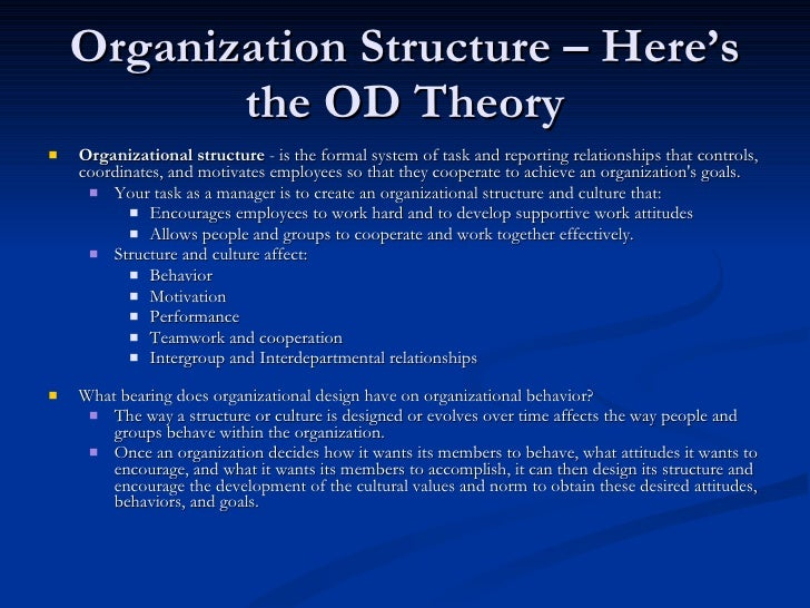 """the formal system of task and reporting relationships that controls coordinates and motivates employ People and tasks don't get lost in the company as the structure and design  ensure that  structure as """"the formal system of task and reporting relationships  that controls, coordinates, and motivates  high or horizontal structures have  many levels in the hierarchy and do not promote employee feedback or  involvement."""