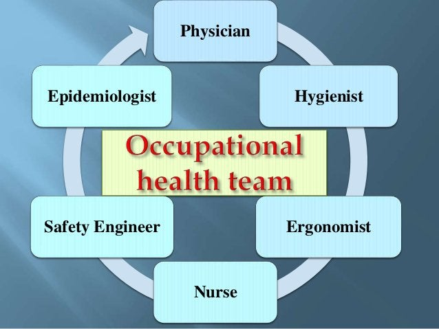 Occupational physician: Is the leader of the team who: 1. Designs and implements the occupational health program, 2. Condu...