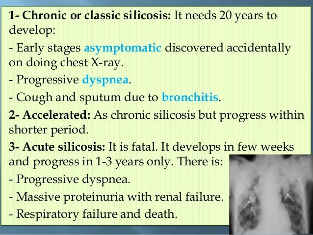 1- Continuous dust conc. measurements in work place. 2- Pre-placement examinations: recording history of chest troubles an...