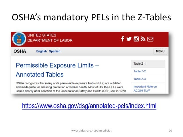 OSHA's mandatory PELs in the Z-Tables https://www.osha.gov/dsg/annotated-pels/index.html www.slideshare.net/ahmedrefat 10