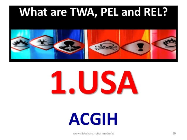 What are TWA, PEL and REL? 1.USA ACGIH www.slideshare.net/ahmedrefat 19