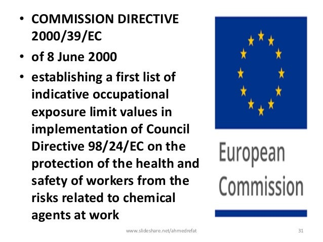 • COMMISSION DIRECTIVE 2000/39/EC • of 8 June 2000 • establishing a first list of indicative occupational exposure limit v...
