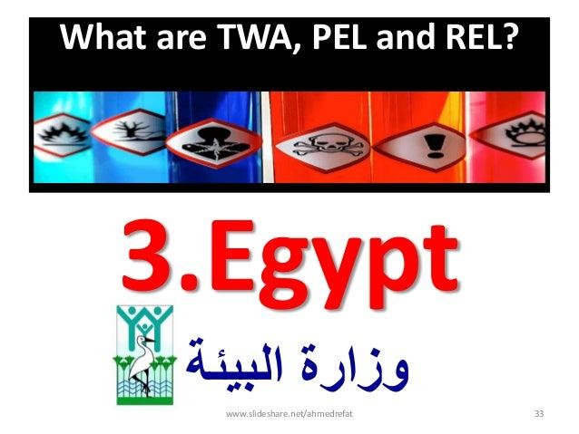 What are TWA, PEL and REL? 3.Egypt البٌئة وزارة www.slideshare.net/ahmedrefat 33