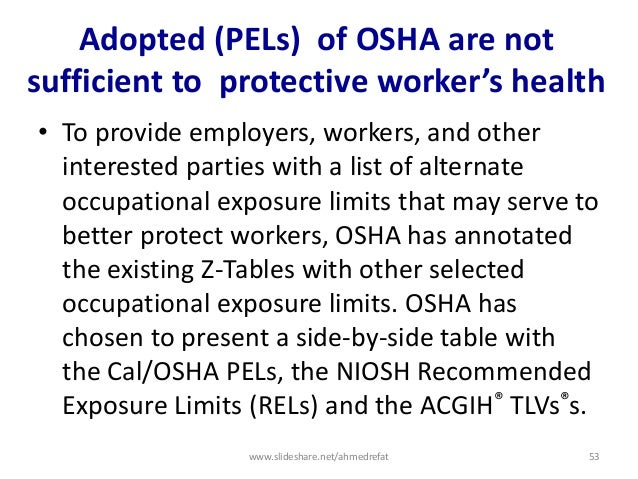 Adopted (PELs) of OSHA are not sufficient to protective worker's health • To provide employers, workers, and other interes...