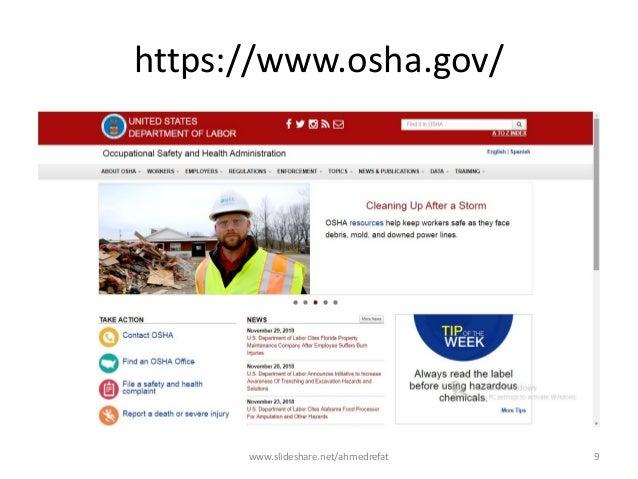 https://www.osha.gov/ www.slideshare.net/ahmedrefat 9