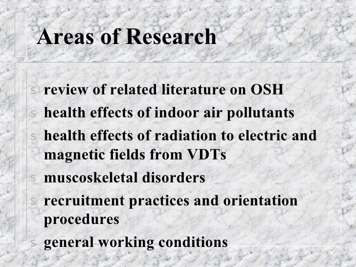 Occupational Safety and Health Concerns in Library Work Places