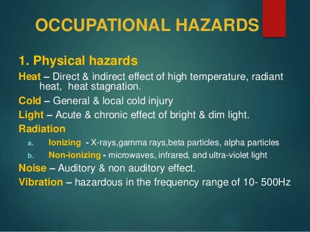 what does occupational hazard mean