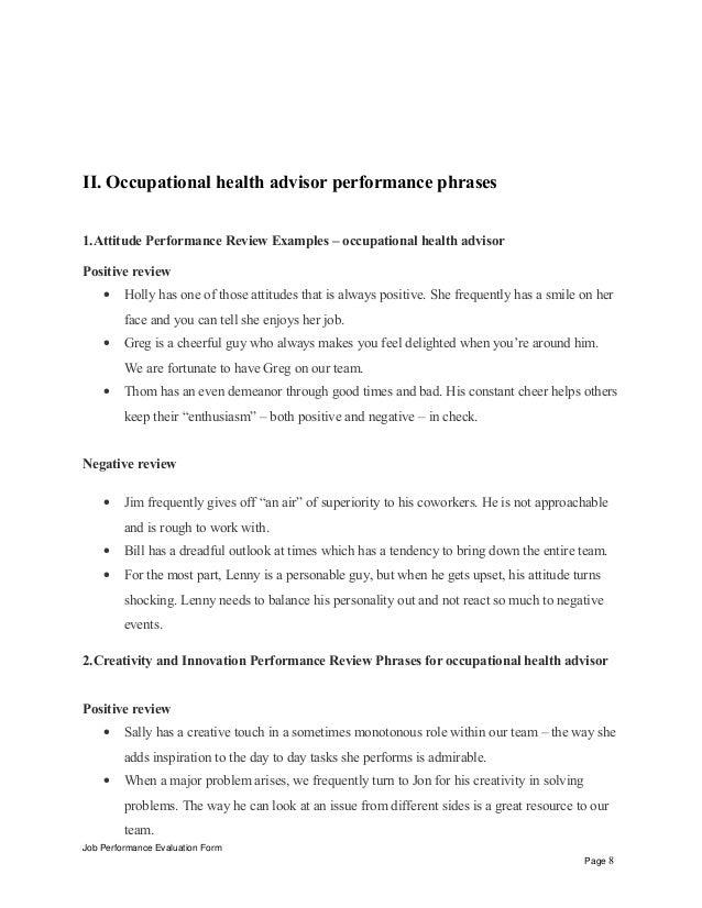 Occupational health advisor performance appraisal