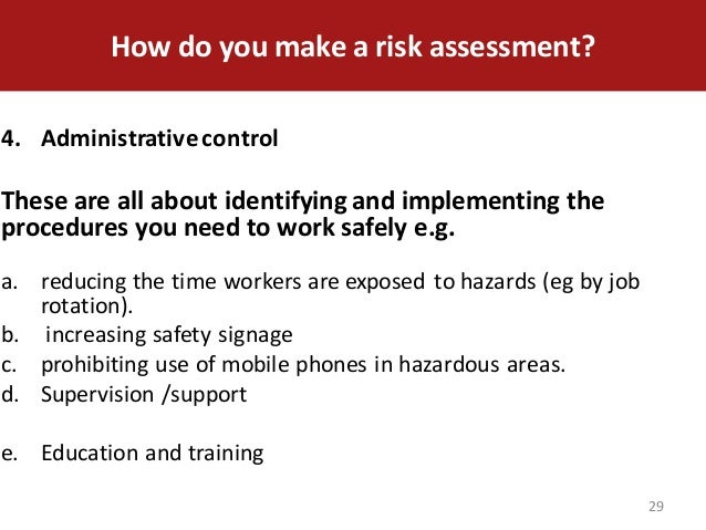 health safety risk assessment nvq Conduct a health and safety risk assessment of a workplace risk assessment level 4 nvq in occupational health and safety practice - evidence summary sheet.