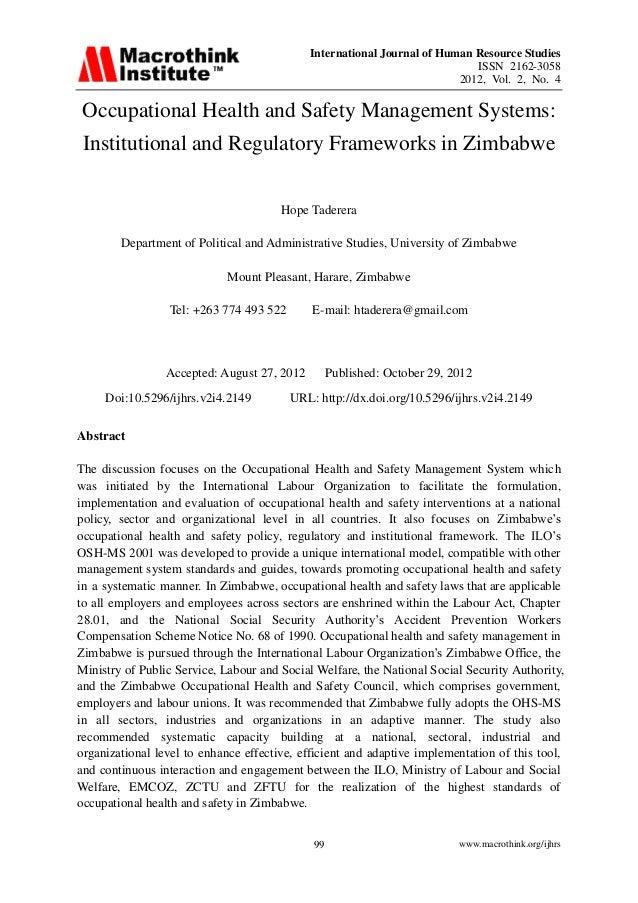 International Journal of Human Resource Studies ISSN 2162-3058 2012, Vol. 2, No. 4 www.macrothink.org/ijhrs99 Occupational...