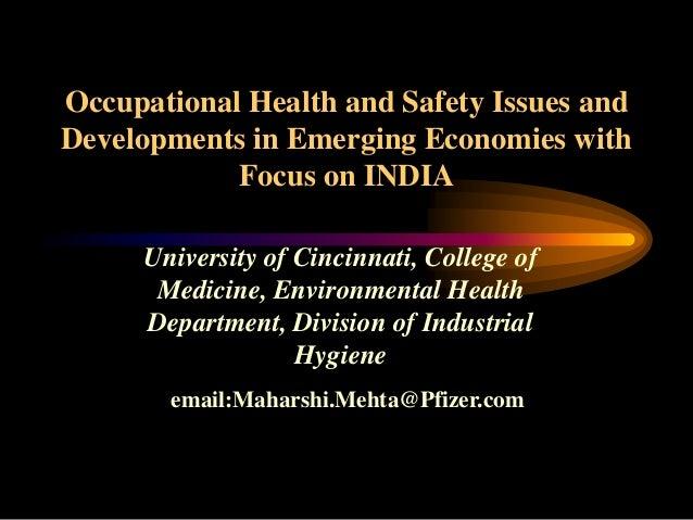 University of Cincinnati, College of Medicine, Environmental Health Department, Division of Industrial Hygiene email:Mahar...