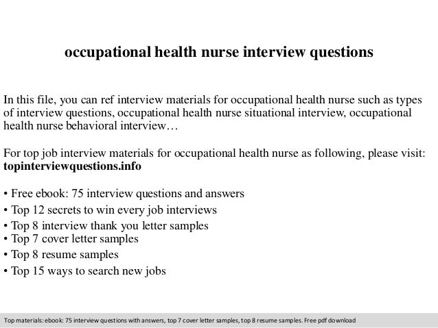 Occupational Health Nurse Interview Questions In This File, You Can Ref  Interview Materials For Occupational ...
