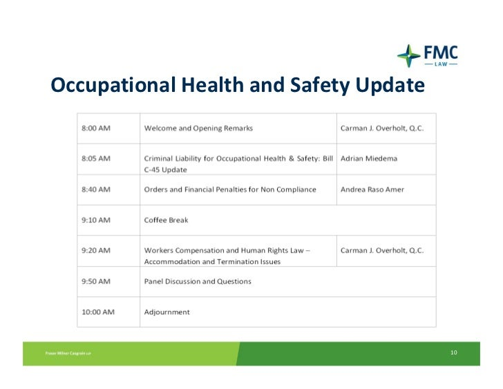 implication of non compliance with health and safety legislation Health and occupational and non health and safety of workers and compliance with occupational safety and health legislation.