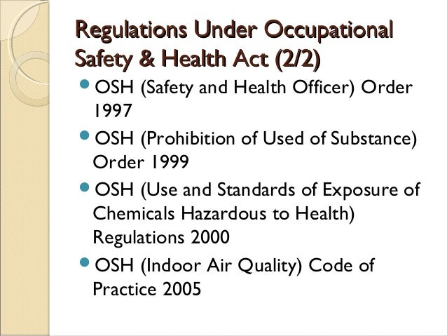 Occupational Safety And Health Act 1994 Act 514