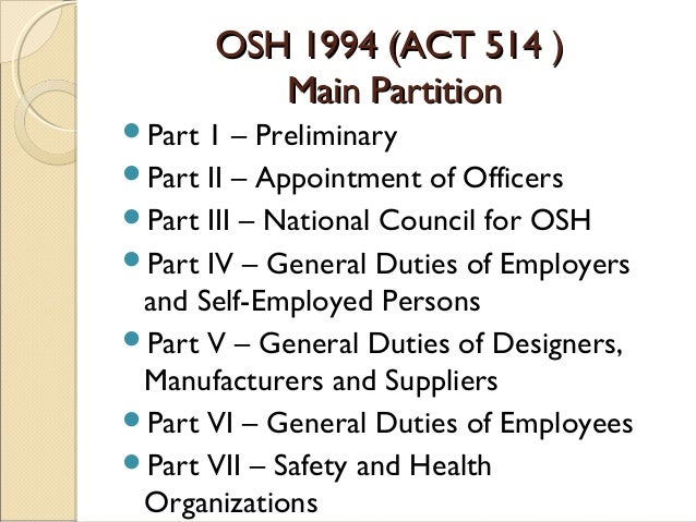 the occupational safety and health act construction essay The occupational safety and health act of 1970 provides job safety and health  1926 construction 29 code of federal regulations(cfr) 1910 general industry.