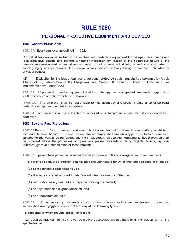 Occupational safety and health standards department of