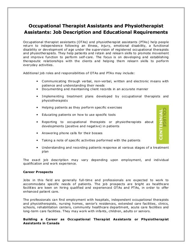 Occupational Therapist Assistants And Physiotherapist Assistants: Job  Description And Educational Requirements Occupationa.