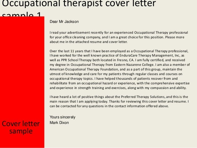 Exceptional Occupational Therapist Cover Letter ... For Occupational Therapy Cover Letter