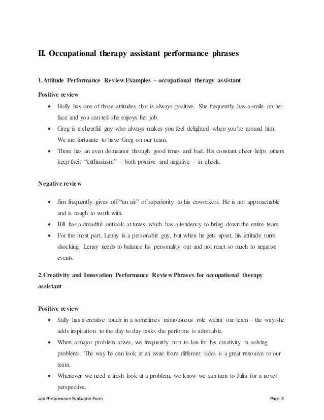 occupational therapy assistant performance appraisal evaluated by date reviewed by date 8