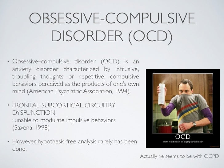 an analysis of obsessive compulsive disorder ocd Obsessive-compulsive disorder (ocd) is a debilitating disorder with a  the  paper provides a systematic review and meta-analysis of the.