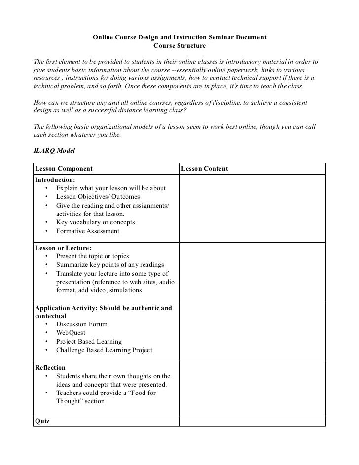 Online Course Design and Instruction Seminar Document                                        Course StructureThe first ele...