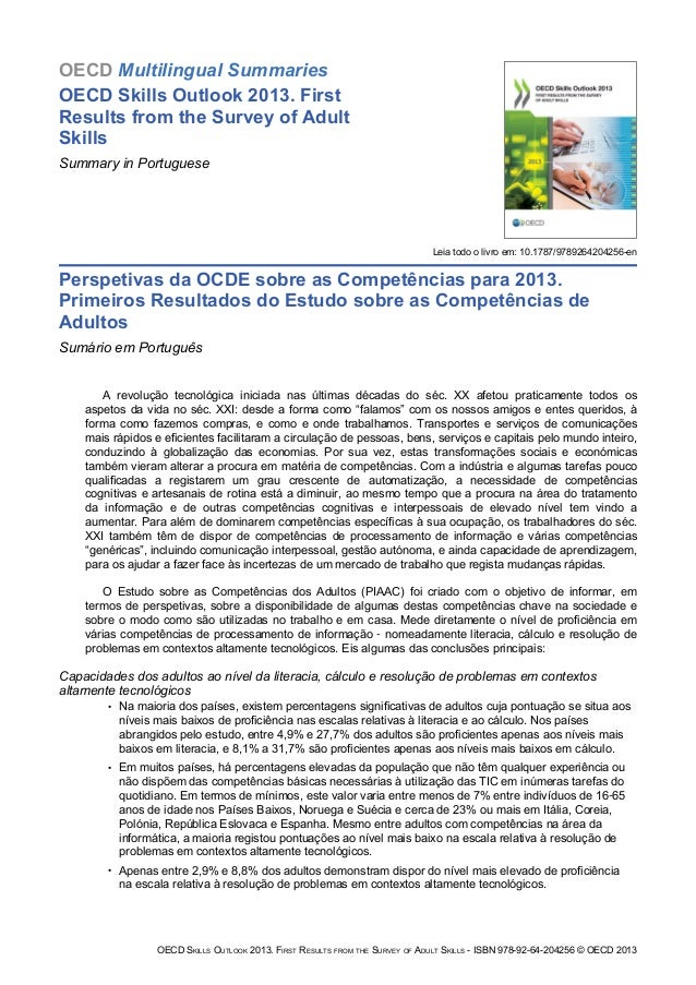 OECD Multilingual Summaries OECD Skills Outlook 2013. First Results from the Survey of Adult Skills Summary in Portuguese ...
