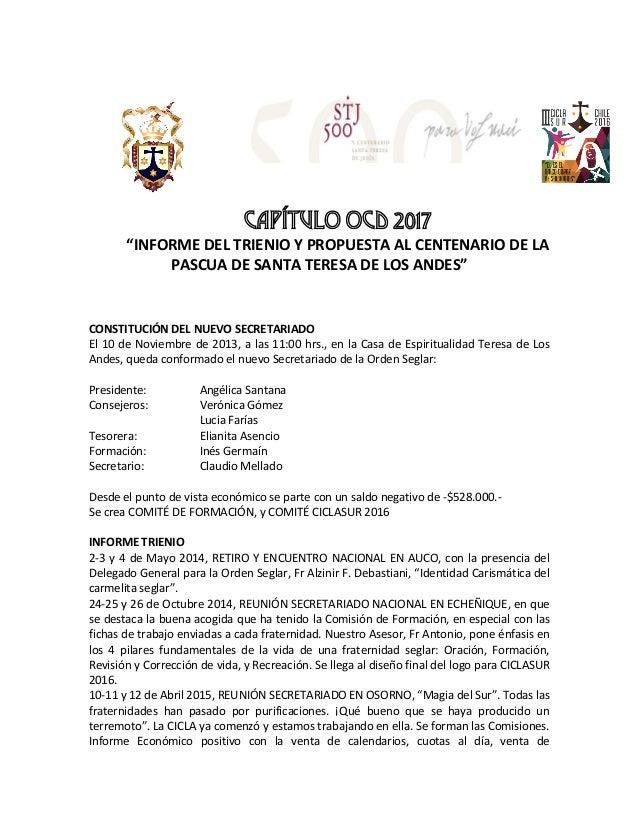 """CAPÍTULO OCD 2017 """"INFORMEDELTRIENIOYPROPUESTAALCENTENARIODELA PASCUADESANTATERESADELOSANDES""""      CO..."""