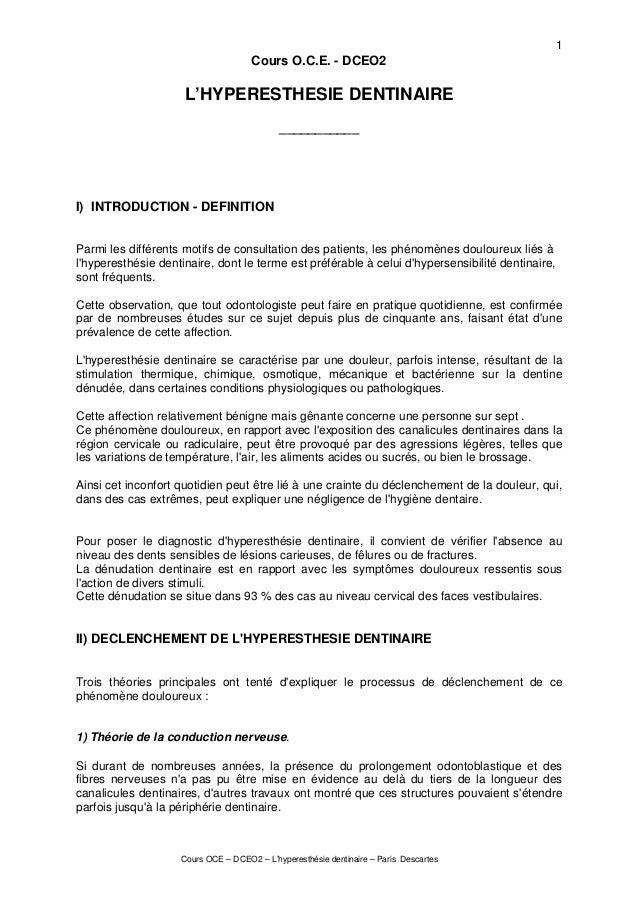 Cours OCE – DCEO2 – L'hyperesthésie dentinaire – Paris Descartes 1 Cours O.C.E. - DCEO2 L'HYPERESTHESIE DENTINAIRE _______...