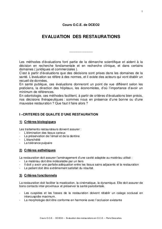 Cours O.C.E. - DCEO2 – Evaluation des restaurations en O.C.E. – Paris Descartes. 1 Cours O.C.E. de DCEO2 EVALUATION DES RE...