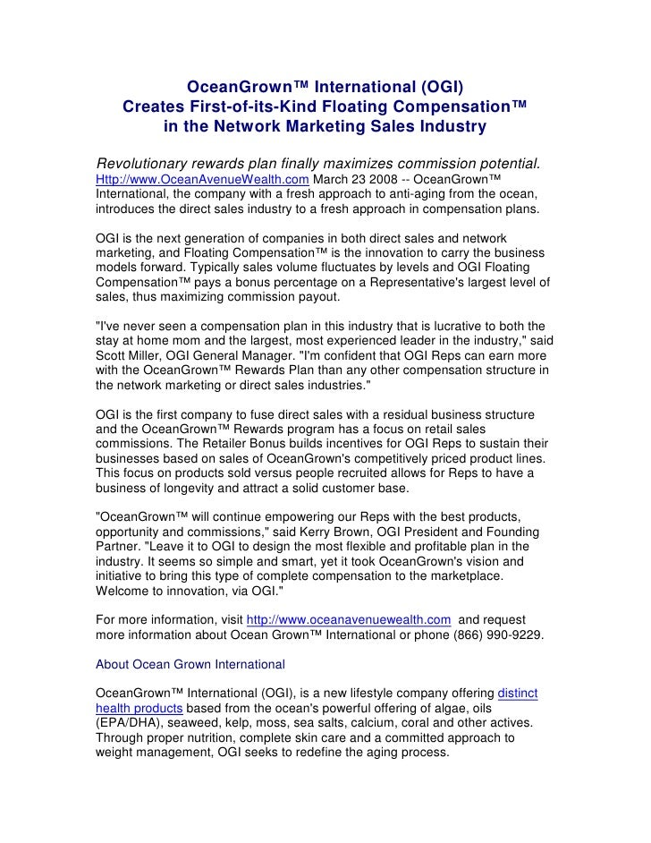 OceanGrown™ International (OGI)     Creates First-of-its-Kind Floating Compensation™          in the Network Marketing Sal...