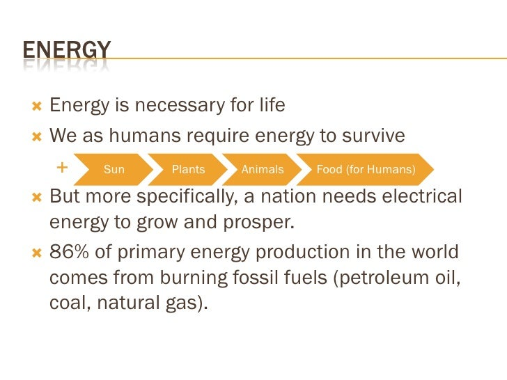 ENERGY    Energy is necessary for life    We as humans require energy to survive         Sun     Plants   Animals   Foo...
