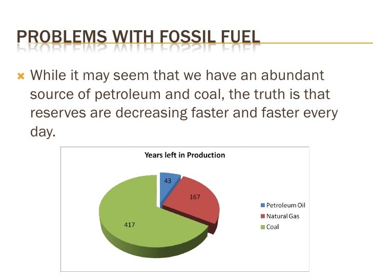 PROBLEMS WITH FOSSIL FUEL      While it may seem that we have an abundant      source of petroleum and coal, the truth is...