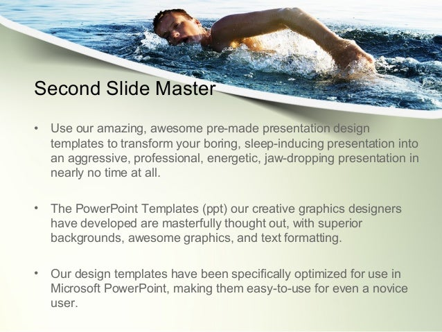 ocean swimmer powerpoint template