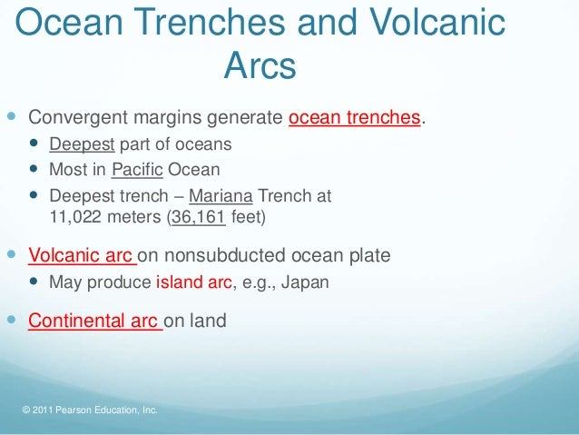 Ocean Trenches and Volcanic            Arcs Convergent margins generate ocean trenches.   Deepest part of oceans   Most...
