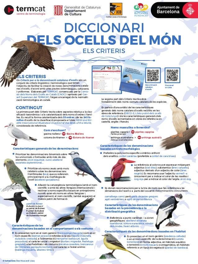 ELS CRITERIS DICCIONARI DELS OCELLS DEL MÓN Diccionari en Linia Denominació catalana d'ocells CONTINGUT La primera part de...