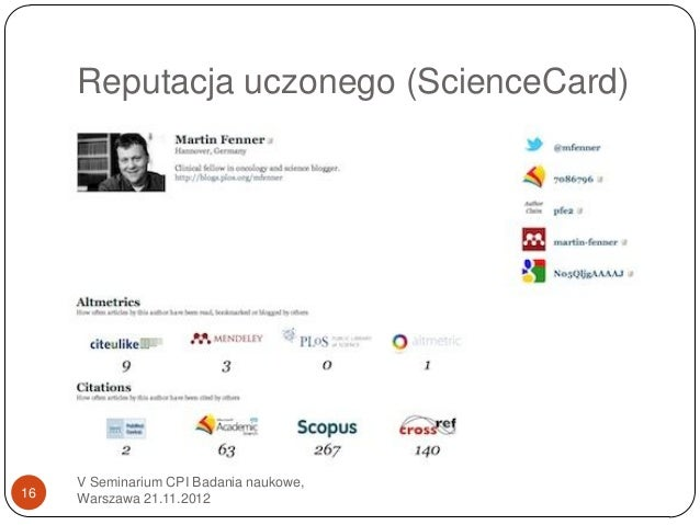 Reputacja uczonego (ScienceCard)     V Seminarium CPI Badania naukowe,16   Warszawa 21.11.2012