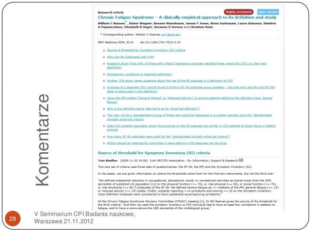 Komentarze     V Seminarium CPI Badania naukowe,28   Warszawa 21.11.2012