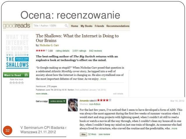 Ocena: recenzowanie     V Seminarium CPI Badania naukowe,32   Warszawa 21.11.2012