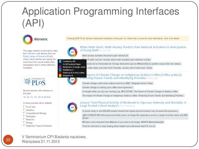 Application Programming Interfaces     (API)     V Seminarium CPI Badania naukowe,35   Warszawa 21.11.2012