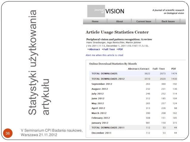 Statystyki użytkowania        artykułu     V Seminarium CPI Badania naukowe,36   Warszawa 21.11.2012