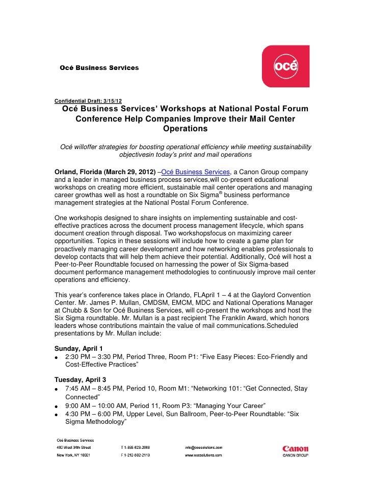 Confidential Draft: 3/15/12   Océ Business Services' Workshops at National Postal Forum     Conference Help Companies Impr...