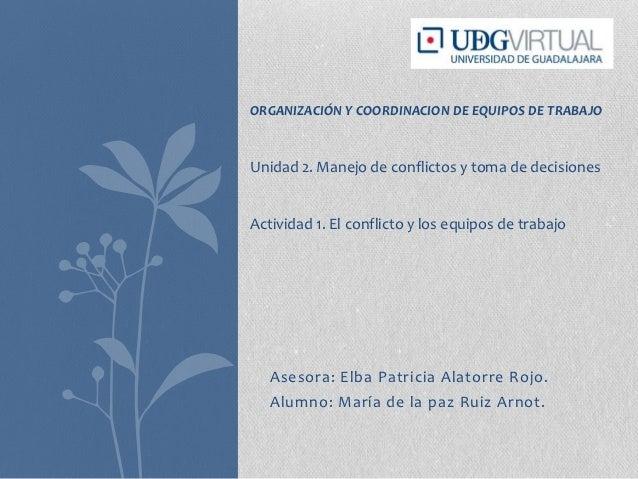 ORGANIZACIÓN Y COORDINACION DE EQUIPOS DE TRABAJOUnidad 2. Manejo de conflictos y toma de decisionesActividad 1. El confli...