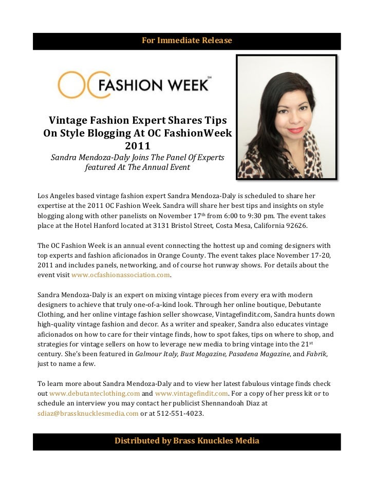 For	  Immediate	  Release	  	             Vintage	  Fashion	  Expert	  Shares	  Tips	            On	  Style	  Blogging	  A...