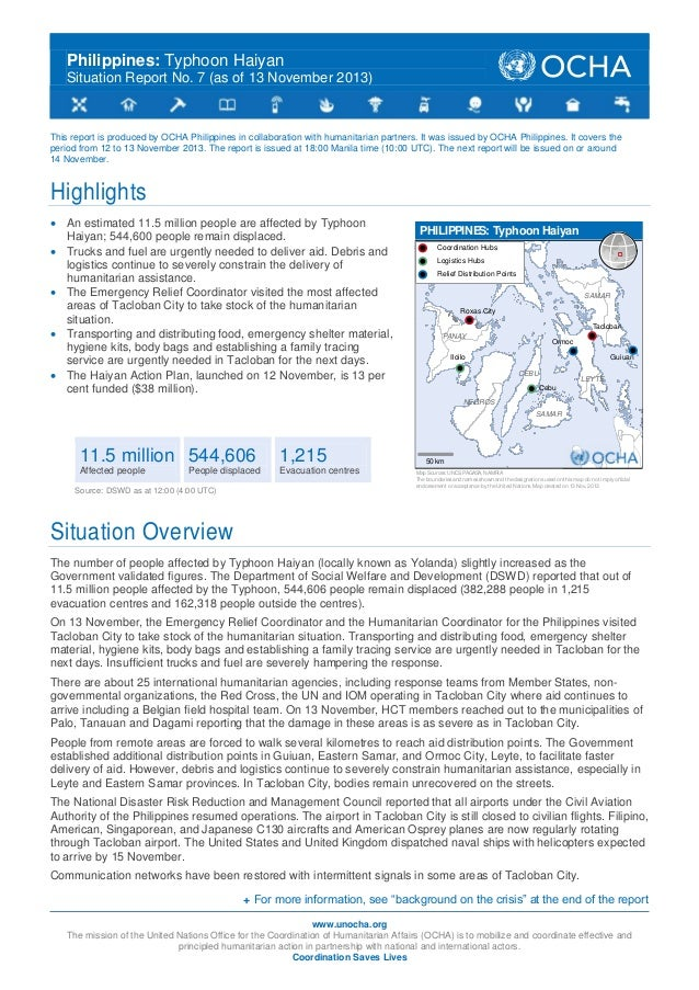 Philippines: Typhoon Haiyan Situation Report No. 7 (as Of 13 November 2013)  ...
