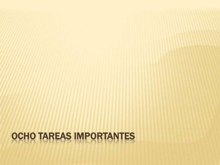 OCHO TAREAS IMPORTANTES
