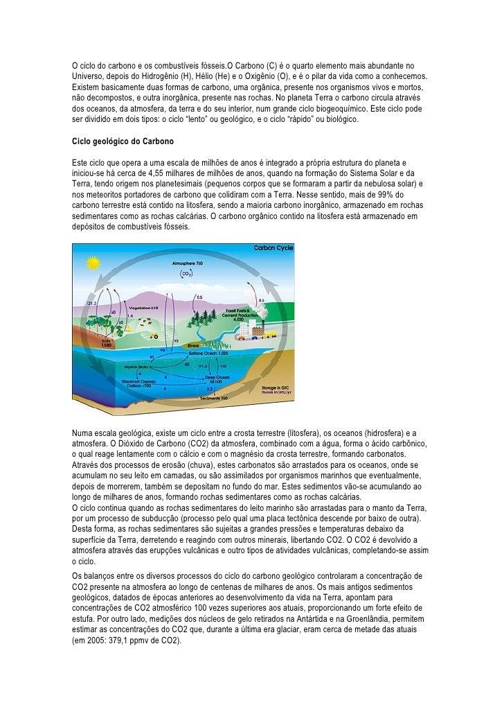 O ciclo do carbono e os combustíveis fósseis.O Carbono (C) é o quarto elemento mais abundante noUniverso, depois do Hidrog...
